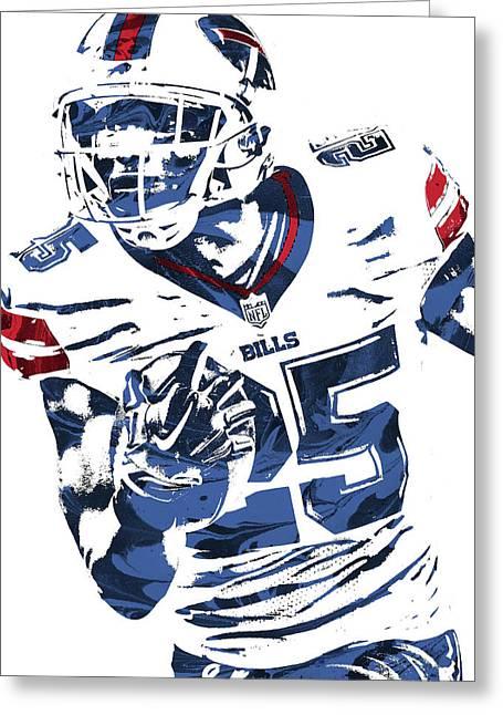 Lesean Mccoy Buffalo Bills Pixel Art Greeting Card by Joe Hamilton