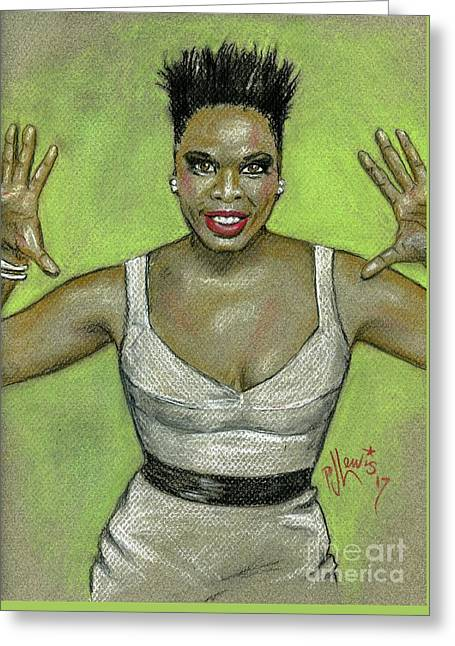 Greeting Card featuring the drawing Leslie Jones by P J Lewis