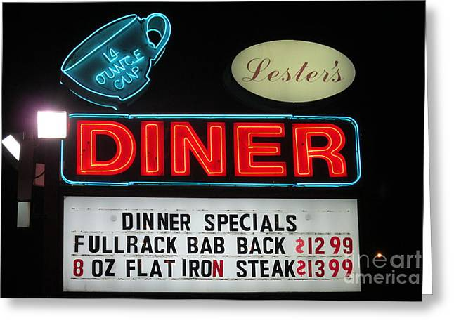 Lesters Diner Greeting Card by Randall Weidner