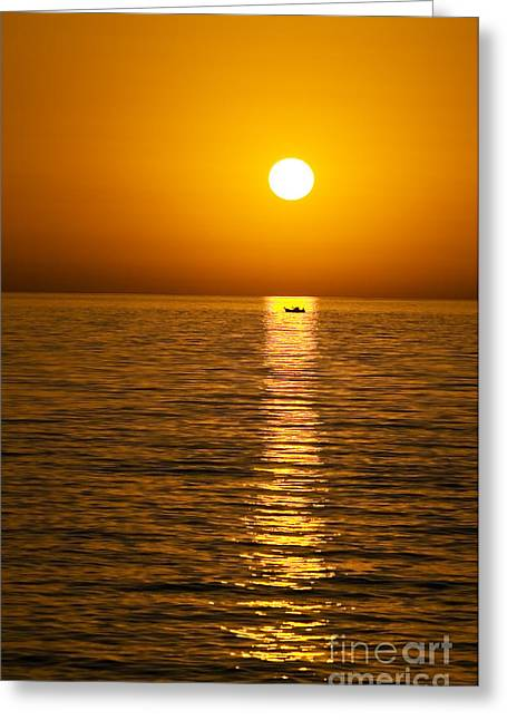 Lesvos Sunset Greeting Card by Meirion Matthias