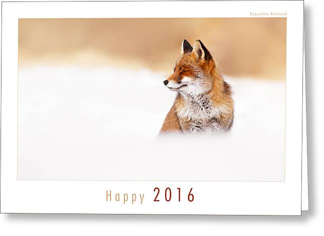 Let It Snow 2 - New Years Card Red Fox In The Snow Greeting Card by Roeselien Raimond