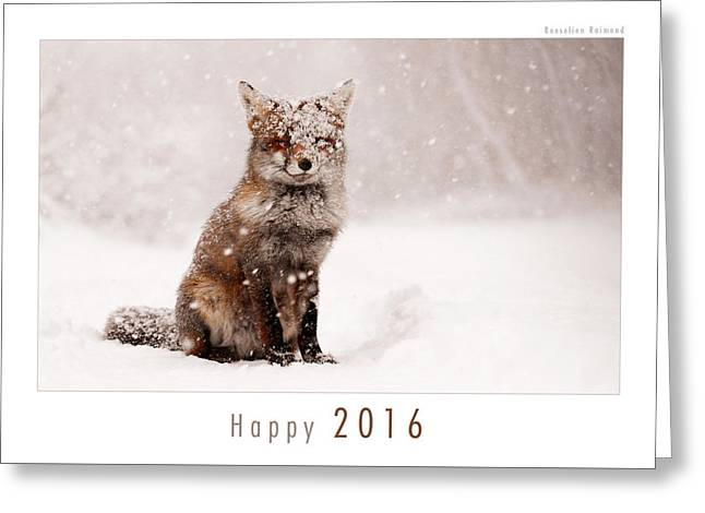 Let It Snow 3 - New Years Card Red Fox In The Snow Greeting Card by Roeselien Raimond