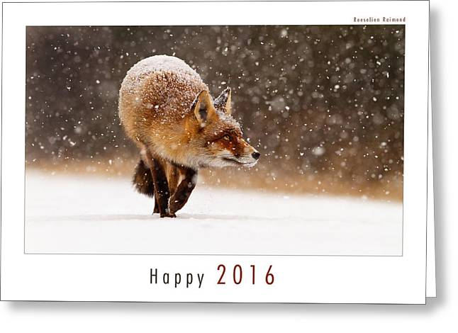 Let It Snow 4 - New Years Card Red Fox In The Snow Greeting Card by Roeselien Raimond