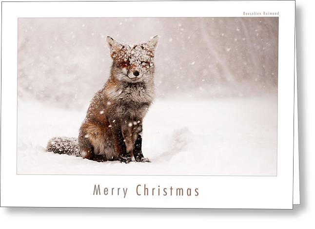 Let It Snow 6 - Christmas Card Red Fox In The Snow Greeting Card by Roeselien Raimond