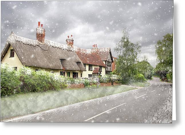 Let It Snow - Essex Country Roads Greeting Card by Gill Billington
