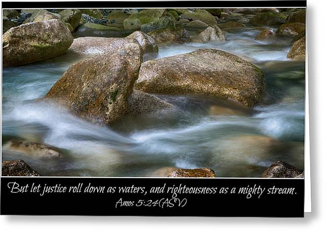 Let Justice Roll As Waters Greeting Card by Stephen Stookey