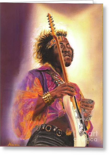 Jimi Hendrix Let Me Stand Next To  Your Fire Greeting Card by Alex Artman