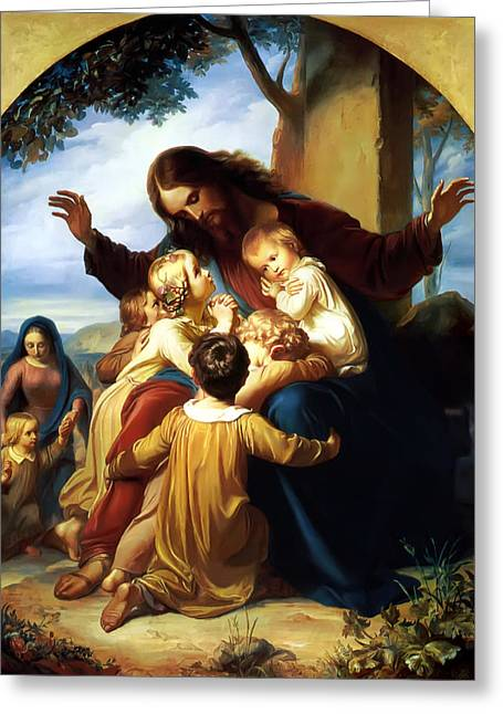 Printed Greeting Cards - Let the Children Come to Me Greeting Card by Carl Vogel von Vogelstein