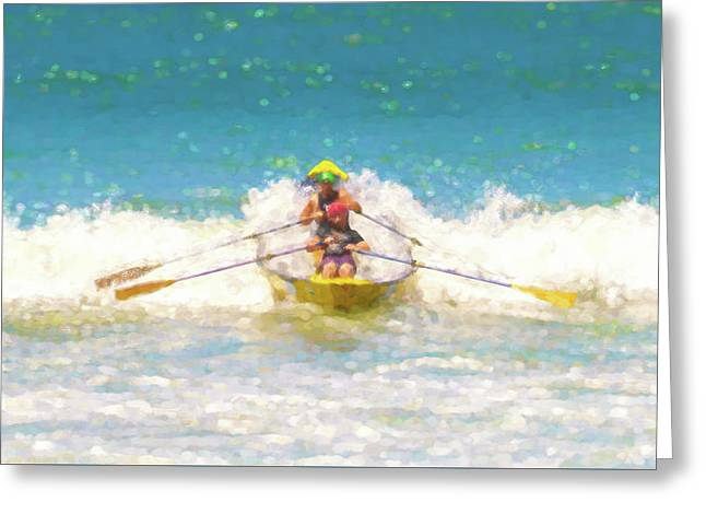 Let Them Through 1 Lifeboat Race Watercolor Greeting Card