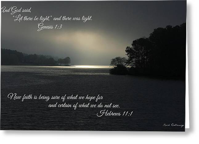 Let There Be Light Bible Art Scripture Art Greeting Card by Reid Callaway