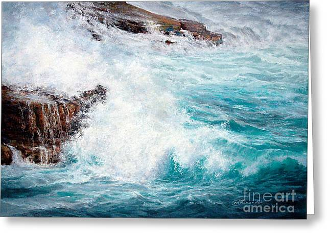 Let There Be Waves Greeting Card by Candace D Fenander