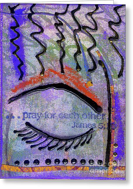 Let Us Pray Greeting Card by Angela L Walker
