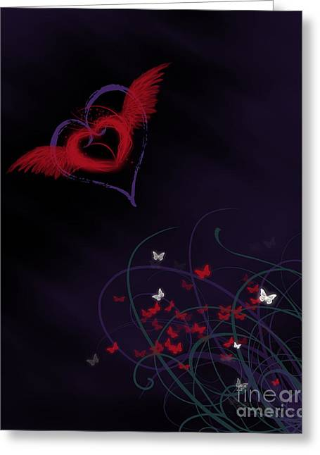 Let Your Heart Take Wings Greeting Card by Linda Lees