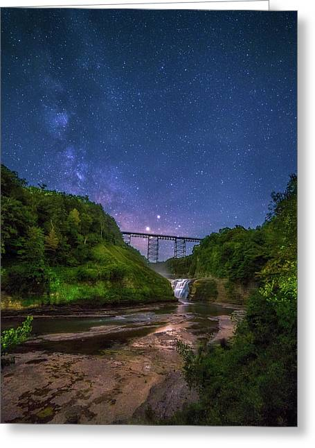 Letchworth At Night Greeting Card by Mark Papke