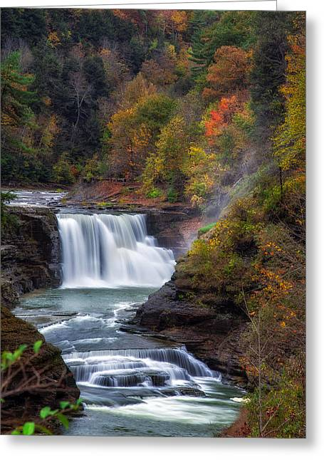 Letchworth Lower Falls 3 Greeting Card by Mark Papke
