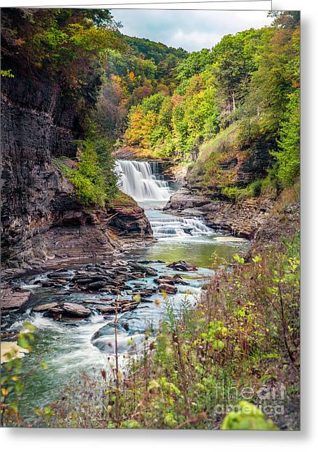 Letchworth Lower Falls In Autumn Greeting Card