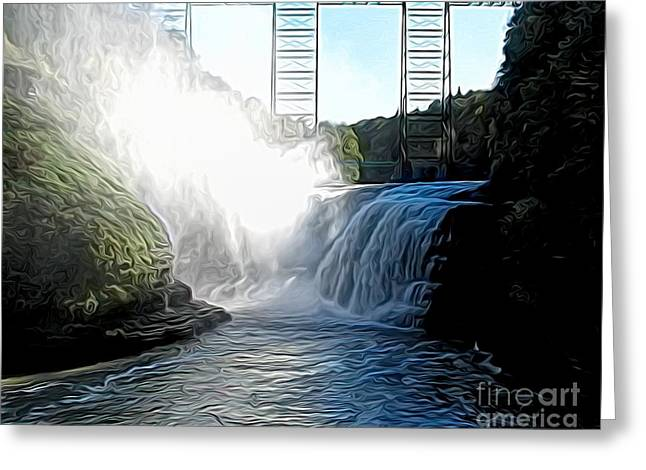 Letchworth State Park Upper Falls And Railroad Trestle Abstract Greeting Card