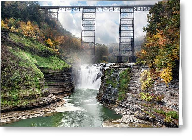 Letchworth Upper Falls Greeting Card by Peter Chilelli