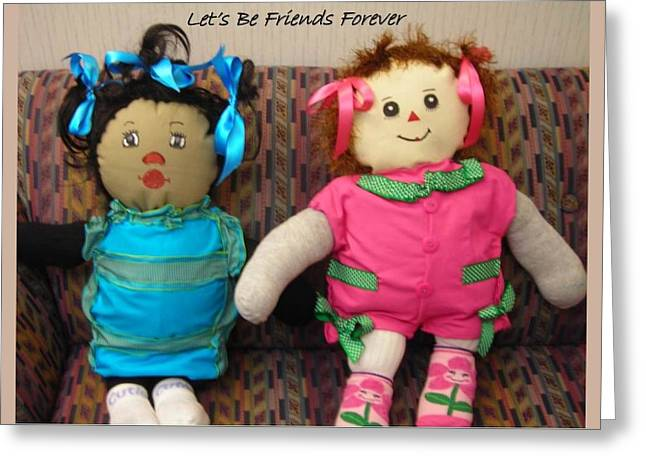 Let's Be Friends Forever Greeting Card by Cynthia Parker