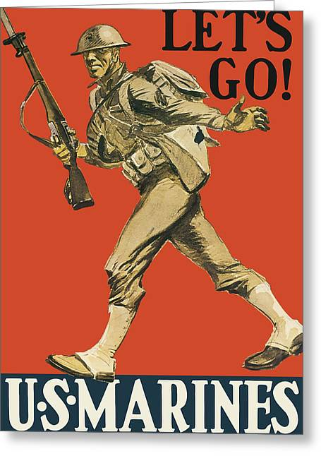 Let's Go - Vintage Marine Recruiting Greeting Card