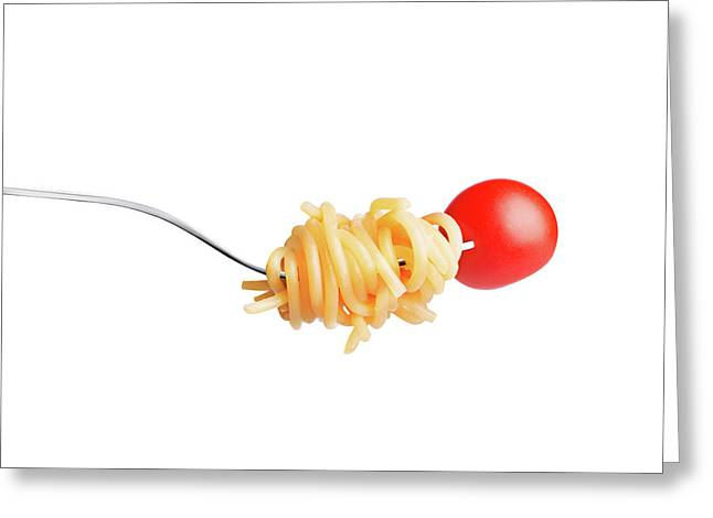 Let's Have A Pasta With Tomato Greeting Card by Vadim Goodwill