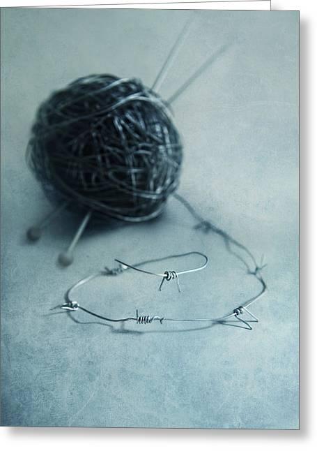 Lets Knit A Bit Greeting Card by Jaroslaw Blaminsky