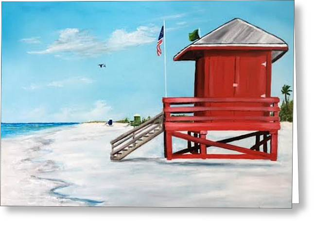 Let's Meet At The Red Lifeguard Shack Greeting Card