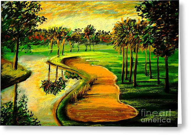 Let's Play Golf Greeting Card by Patricia L Davidson