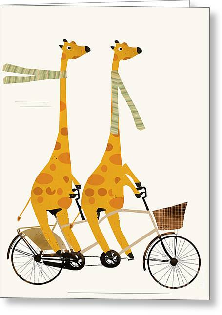 Greeting Card featuring the painting Lets Tandem Giraffes by Bri B