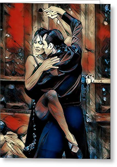 Greeting Card featuring the digital art Let's Tango by Pennie McCracken