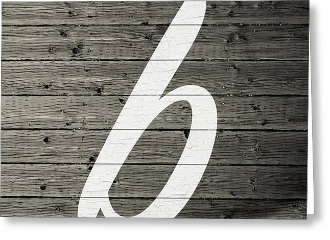 Letter B White Paint Peeling From Wood Planks Greeting Card