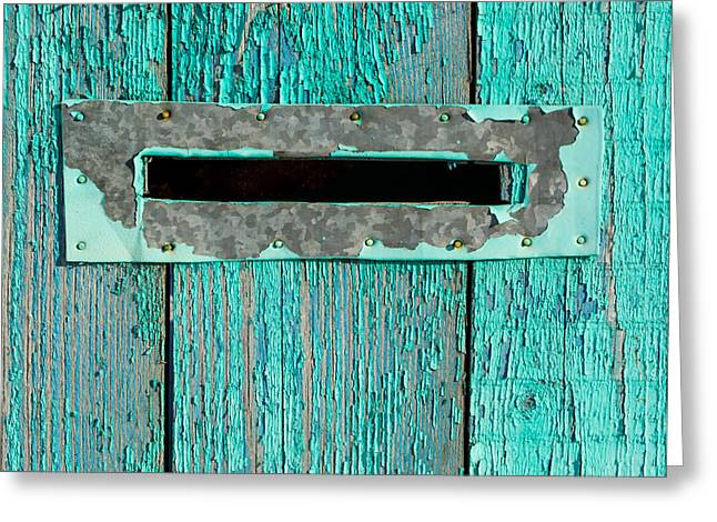 Letter Box On Blue Wood Greeting Card