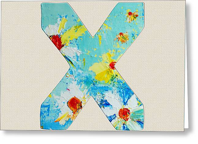 Letter X Roman Alphabet - A Floral Expression, Typography Art Greeting Card