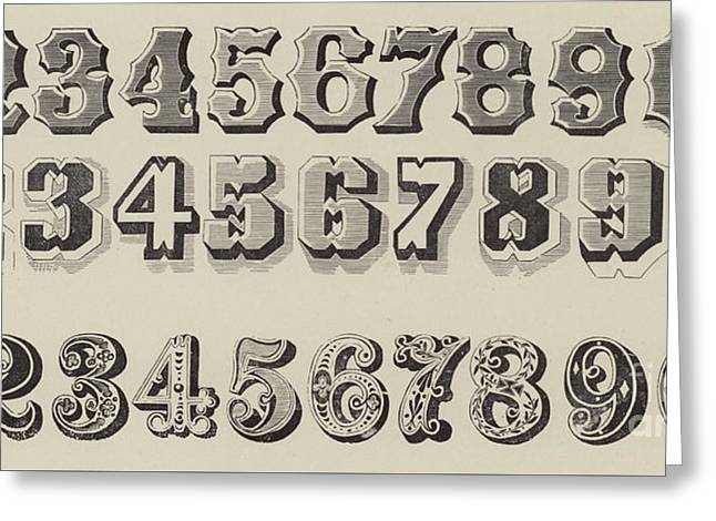 Letters And Numbers Greeting Card by English School
