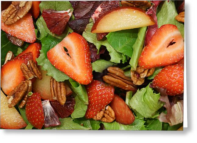 Lettuce Strawberry Plum Salad Greeting Card