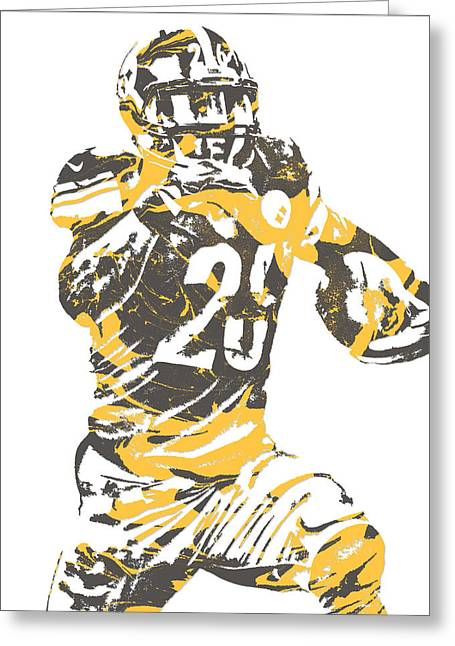 Leveon Bell Pittsburgh Steelers Pixel Art 10 Greeting Card