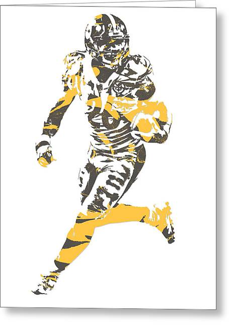 Leveon Bell Pittsburgh Steelers Pixel Art 11 Greeting Card