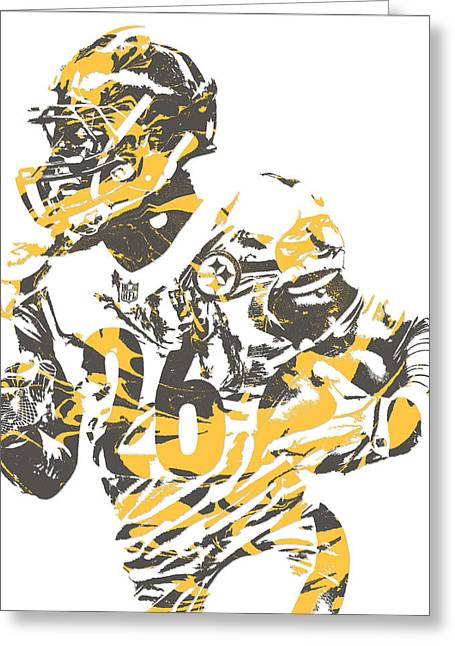 Leveon Bell Pittsburgh Steelers Pixel Art 12 Greeting Card