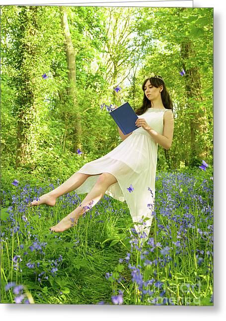 Levitating Woman Reading Book Greeting Card