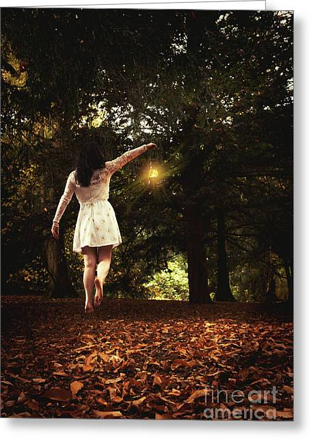 Levitation With Lamp Greeting Card