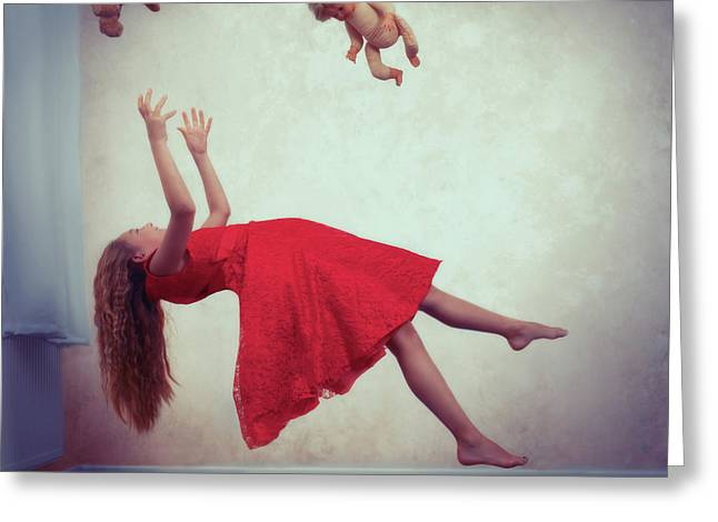 Levitation With Toys Greeting Card