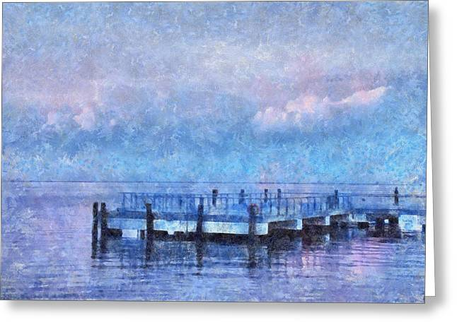 Greeting Card featuring the mixed media Lewes Pier by Trish Tritz