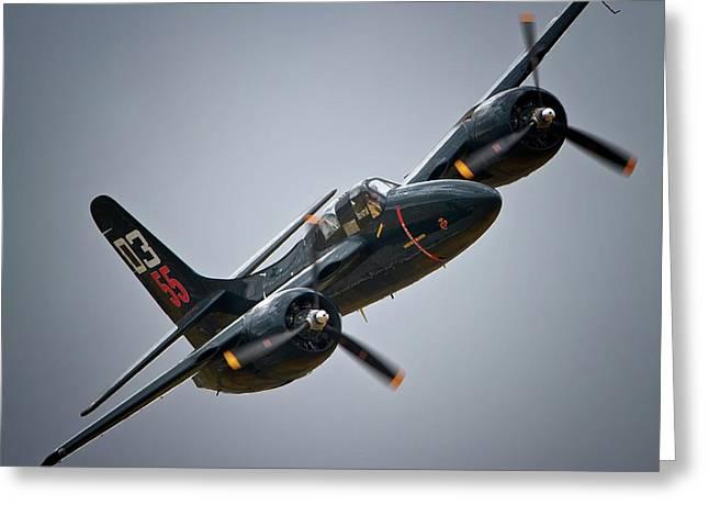 Planes Of Fame Greeting Cards - Lewis Aeronautical LLCs Grumman F7F Tigercat 2011 Chino Air Show Greeting Card by Gus McCrea