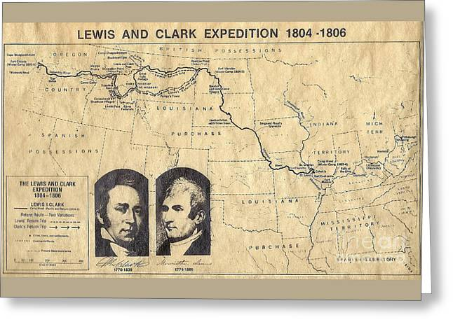 Lewis And Clark Expedition Map Greeting Card