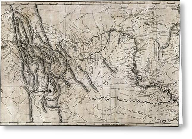 Lewis And Clark Hand-drawn Map Of The Unknown  1804 Greeting Card by Daniel Hagerman