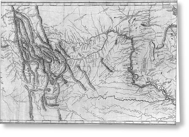 Lewis And Clark Hand-drawn Map Of The Unknown 1804 Greeting Card