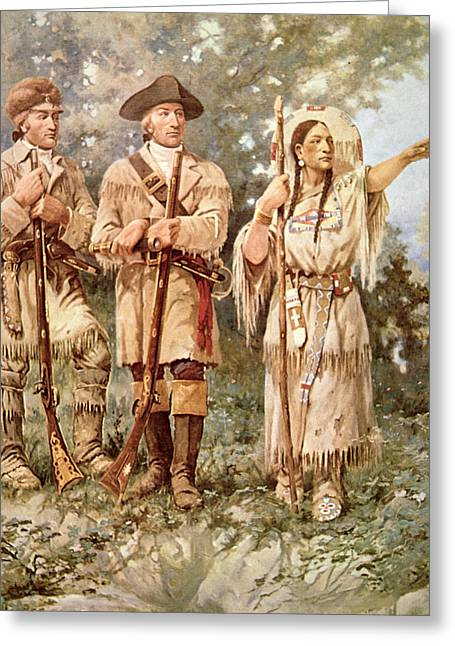 Lewis And Clark With Sacagawea Greeting Card by Edgar Samuel Paxson