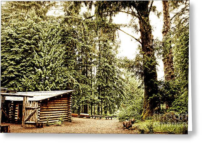 Lewis And Clark's Fort Clatsop In The Old Growth Forest Greeting Card by Lincoln Rogers