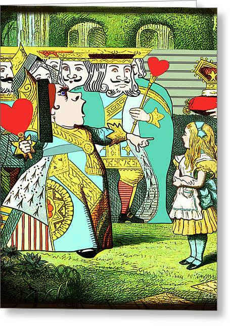 Lewis Carrolls Alice, Red Queen And Cards Greeting Card