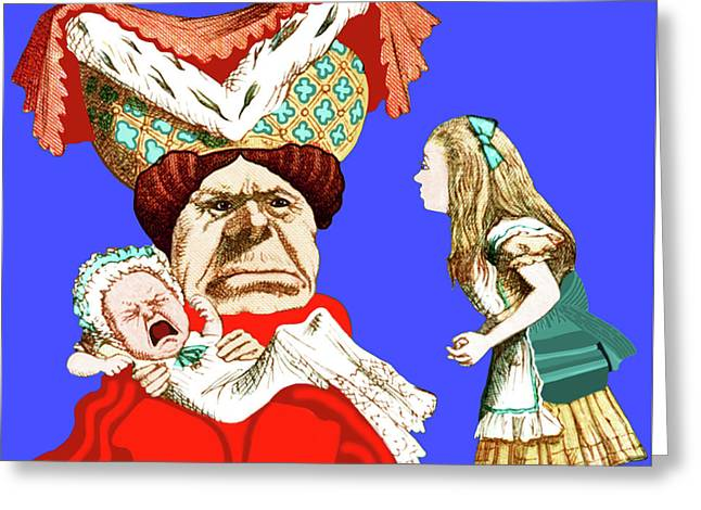 Greeting Card featuring the painting Lewis Carrolls Alice, Red Queen And Crying Infant by Marian Cates